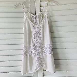 Charming Charlie Swing Tank with Crochet Cut Outs